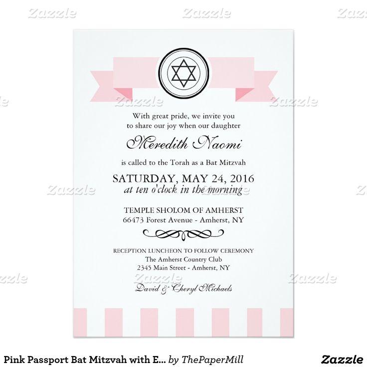 Bat mitzvah rose de passeport avec la damassé carton d'invitation  12,7 cm x 17,78 cm