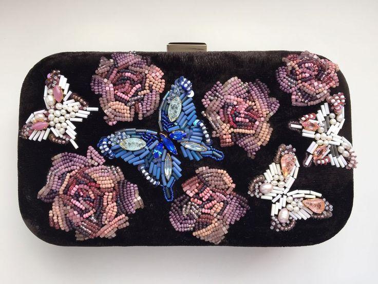 """Купить """"Валерия"""", вечерний клатч, вышивка бисером. - коричневый, цветочный, вечерняя сумочка, театральная сумочка"""