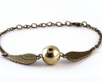 Bracciale braccialetto Boccino d'oro Harry Potter golden snitch color bronzo oro antico