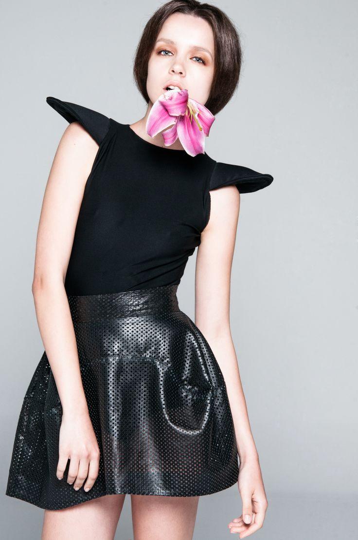 Black Pierced Leather Skirt