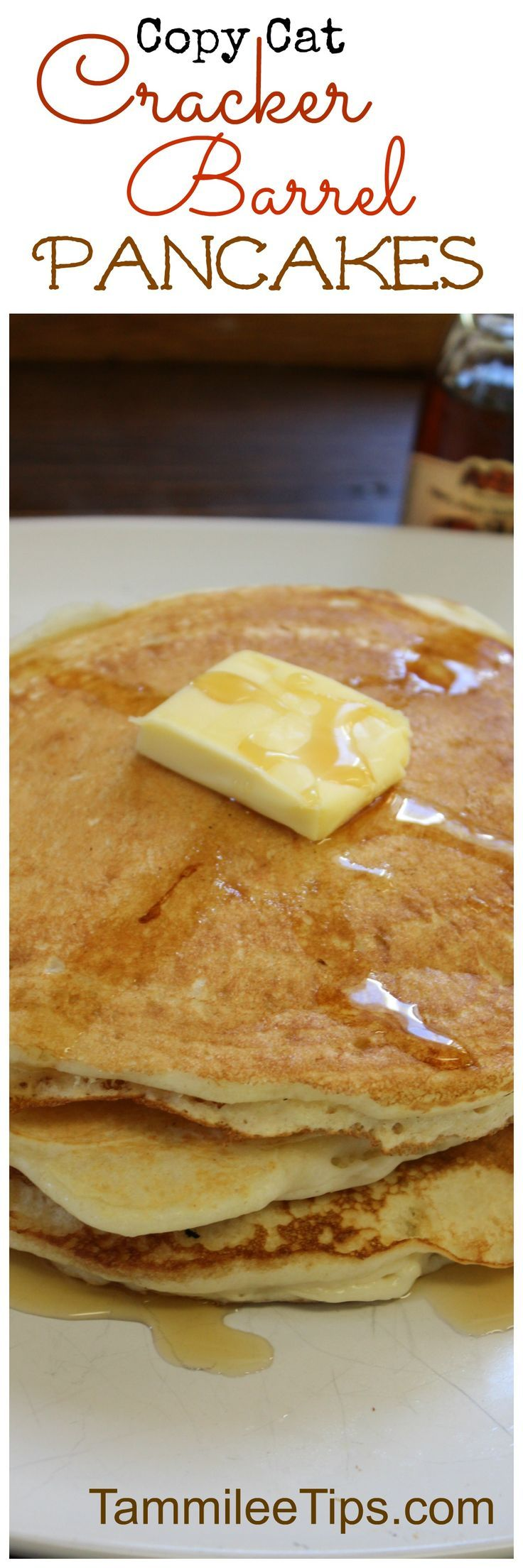 Make your favorite copy cat Cracker Barrel pancakes at home with this delicious recipe! This copycat breakfast is the perfect way to start a morning!