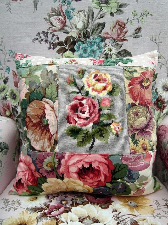 OOAK Handmade Summer Roses Patchwork Cushion Vintage Fabrics