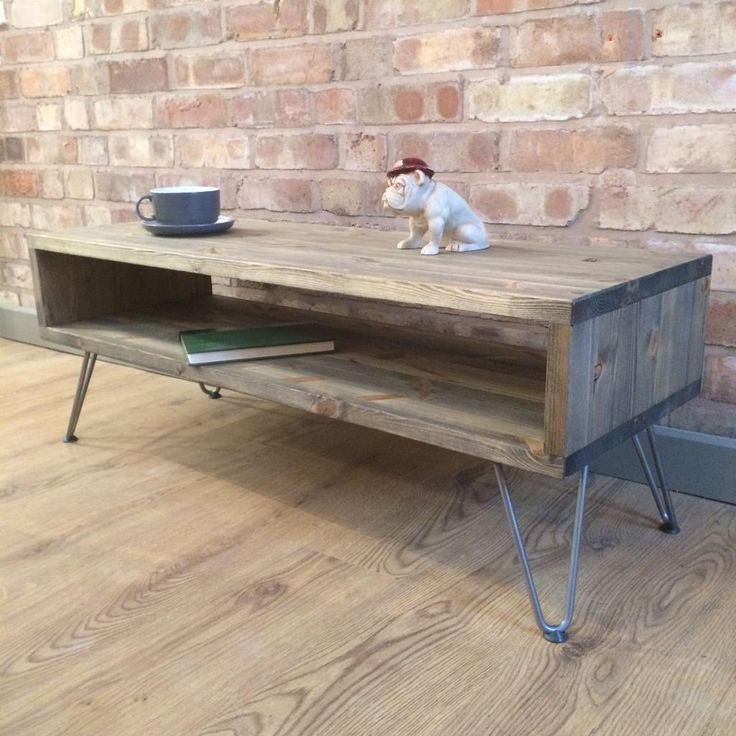 Rustic Industrial Weathered Wood Style Vintage Retro Coffee Table / TV  Cabinet With Hairpin Legs