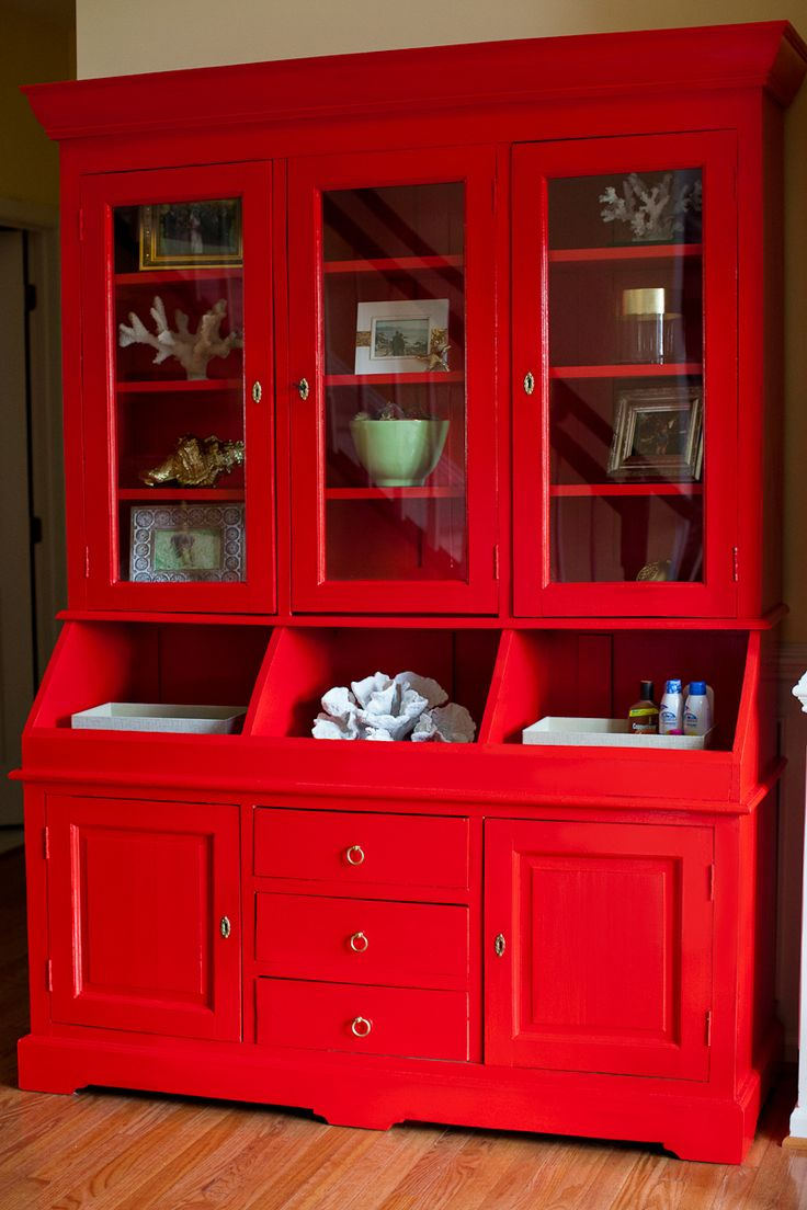 vibrant red china cabinet