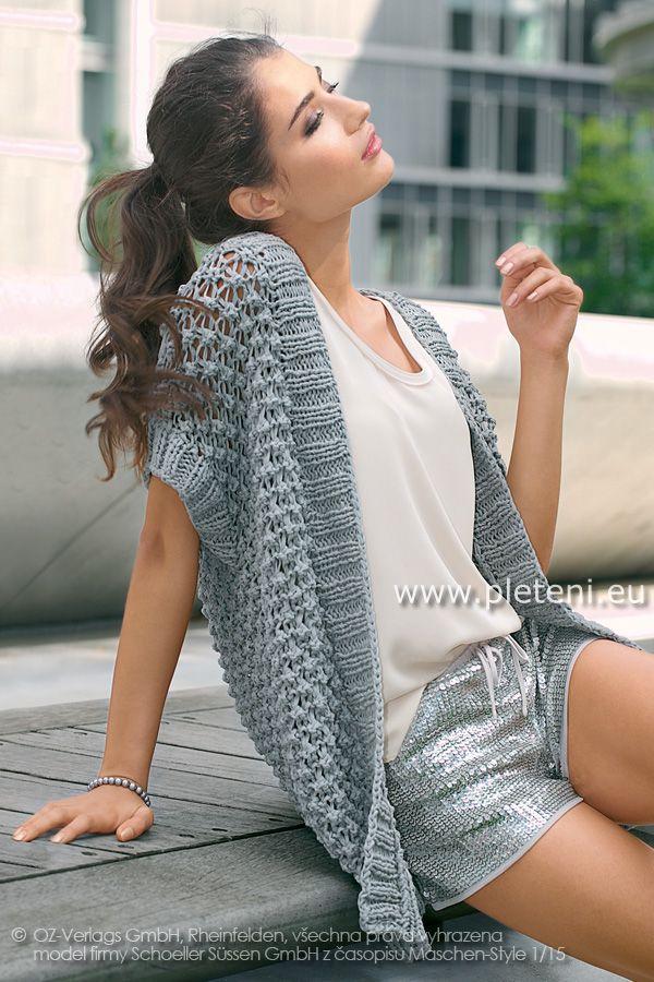 dámský ručně pletený kabátek z příze Veneta