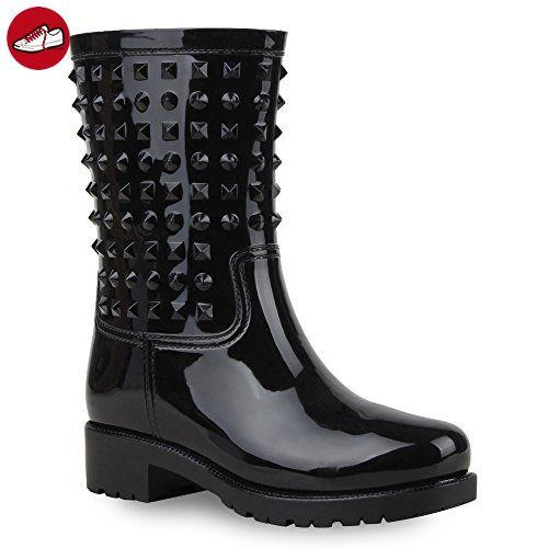 Damen Schuhe Gummistiefel Lack mit Blockabsatz - Stiefelparadies schuhe (*Partner-Link)