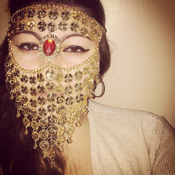 Yazmina Gold Coin Ruby Face Chain Headpiece Veil by LaceLuxxe