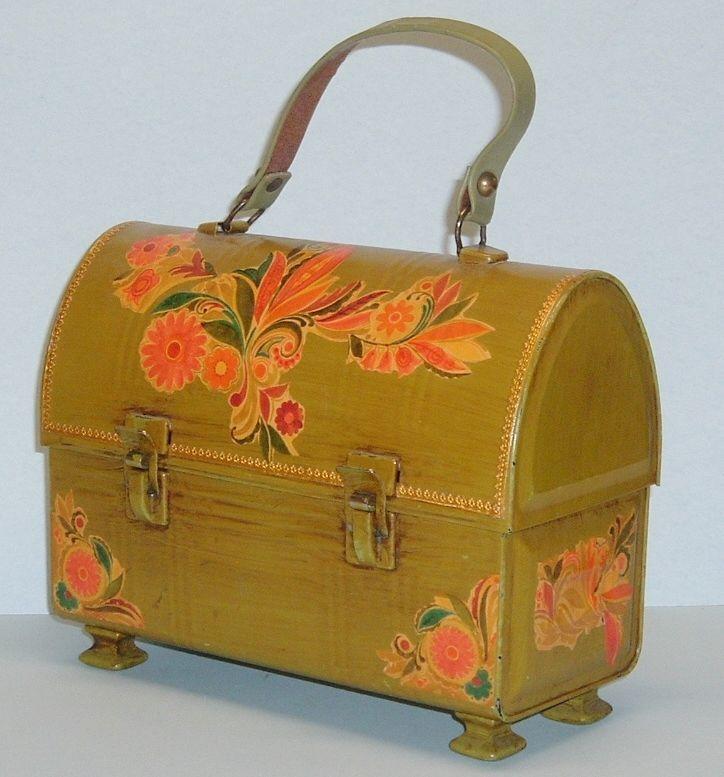 Vintage Hand Painted & Decopage Metal Aladdin Lunch Box Purse Avacado Green #Handmade #Box