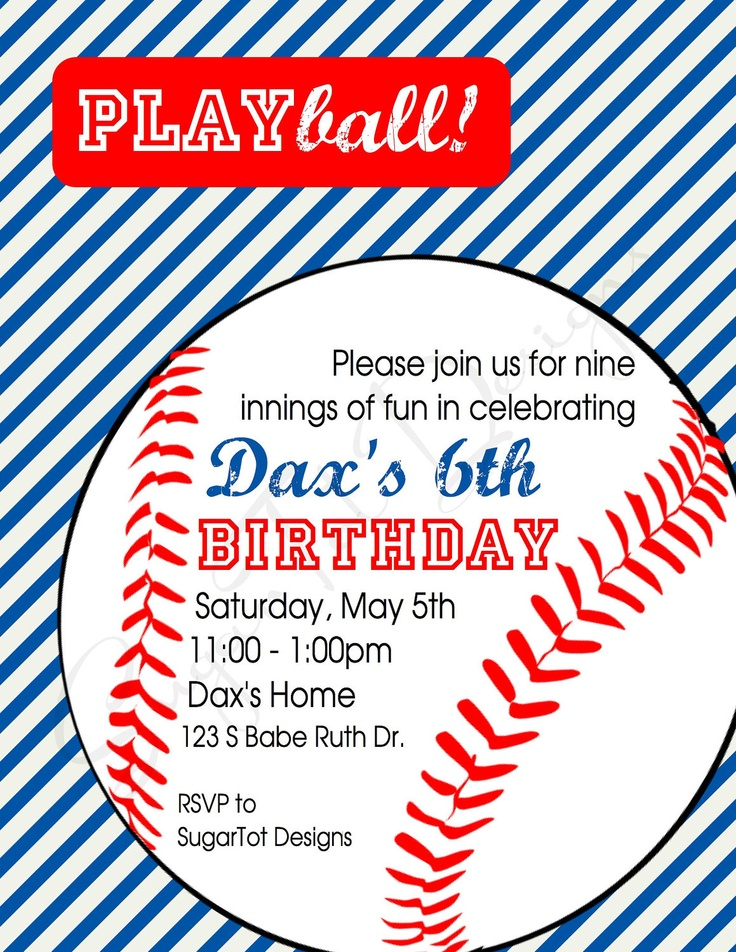 25 best ideas about Baseball Party Invitations – Baseball Birthday Party Invitations
