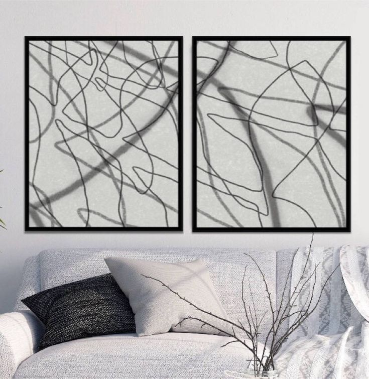 Popular Set of 2 Abstract Black and White Prints/Black and White Art/Abstract Wall Art/Set of Two Prints,Digital Download,Scandinavian Print