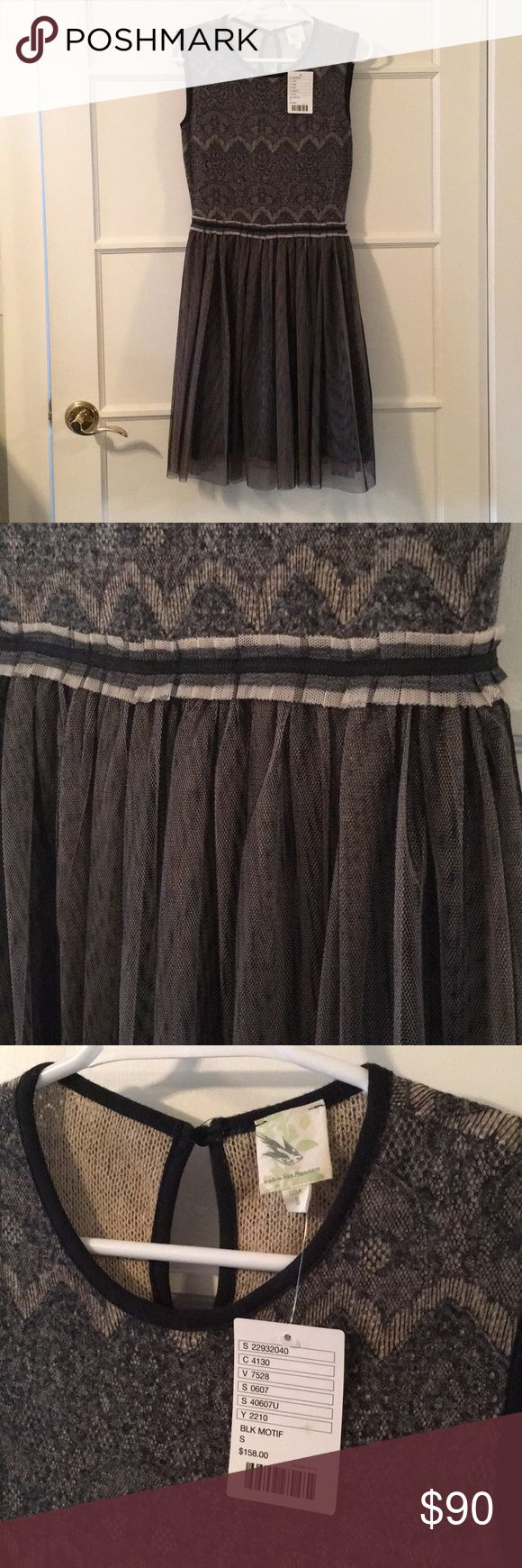 Anthropology dress NWT (from smoke free and pet free home), gorgeous Anthropology dress. Tule skirt with a detailed top half. Ribbon attached to tie a bow in the back. Super cute!! Anthropologie Dresses Midi