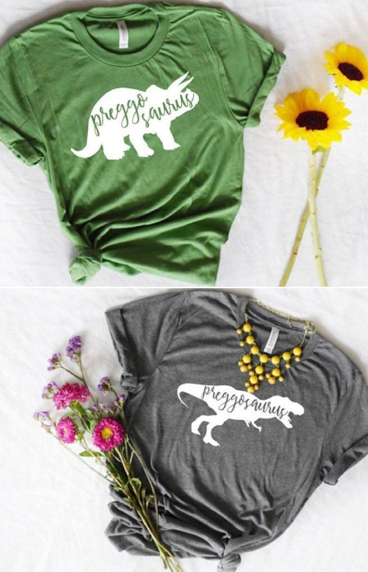 77f9c06b Pregasaurus t-shirts to wear while pregnant! Such a fun alternative to mama  bear shirts!