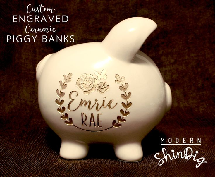 Engraved Piggy Bank with Free Custom Design! Large Ceramic Bank is Engraved and Painted Gold or Silver! Engraving on Both Sides included! by ModernShindig on Etsy