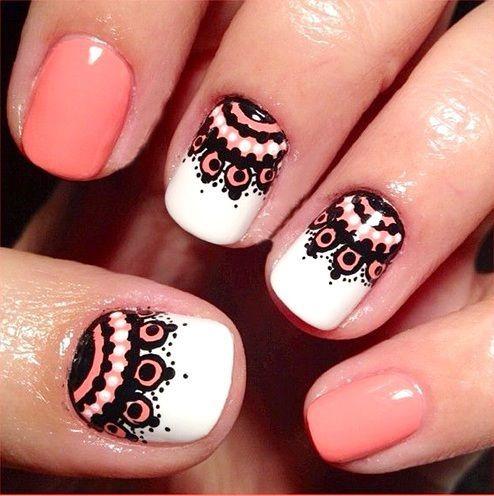 Uñas cortas acrilicas geniales diseños - Short nails with beautiful designs