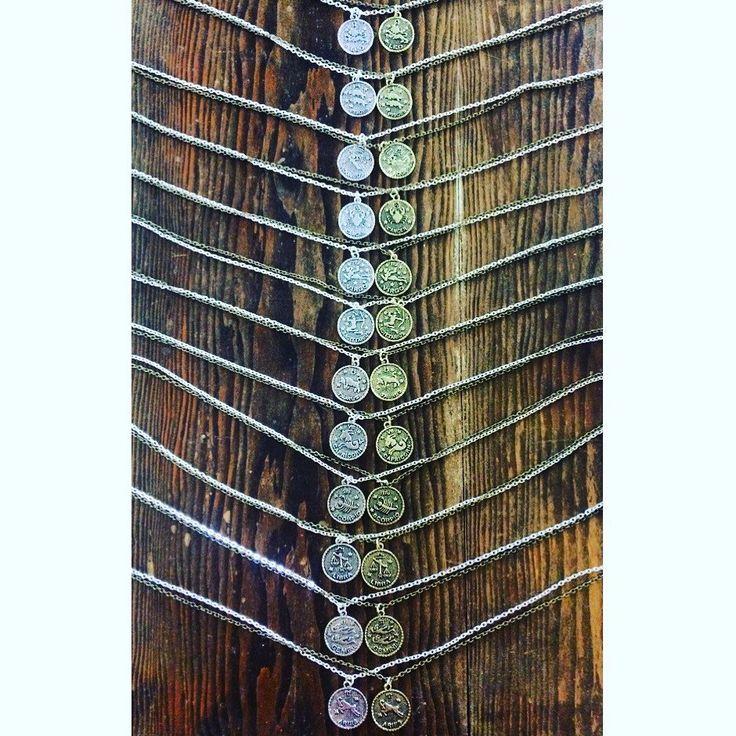 #handmade silver and brass #zodiac coin #necklaces. Available in store or online. Link in bio to shop. ✨ . . . #heytiger #shopheytiger #hellostranger #louisville #shopsmall  #supportsmallbusiness #supporthandmade  #handmadejewelry #handmadenecklace #etsy #etsyshop #etsyseller #aries #taurus #gemini #cancer #leo #virgo #libra #scorpio #sagitarius #capricorn #aquarius #pisces #astrology #necklace #handmadeisbetter