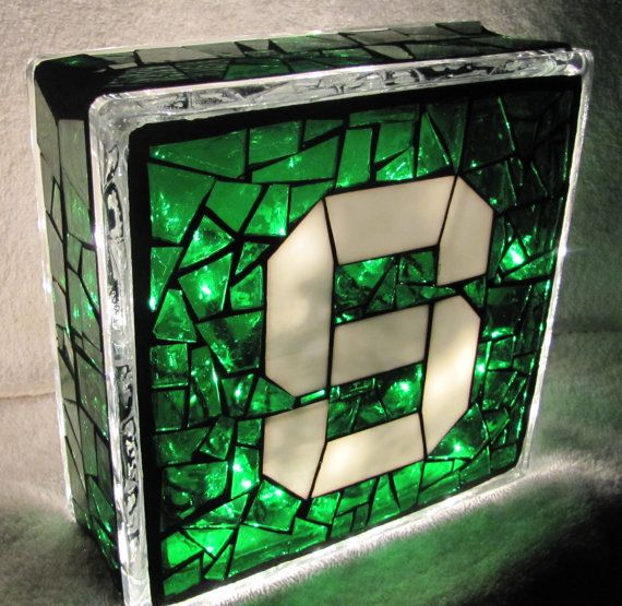 Michigan State Stained Glass Mosaic Block With Lights By