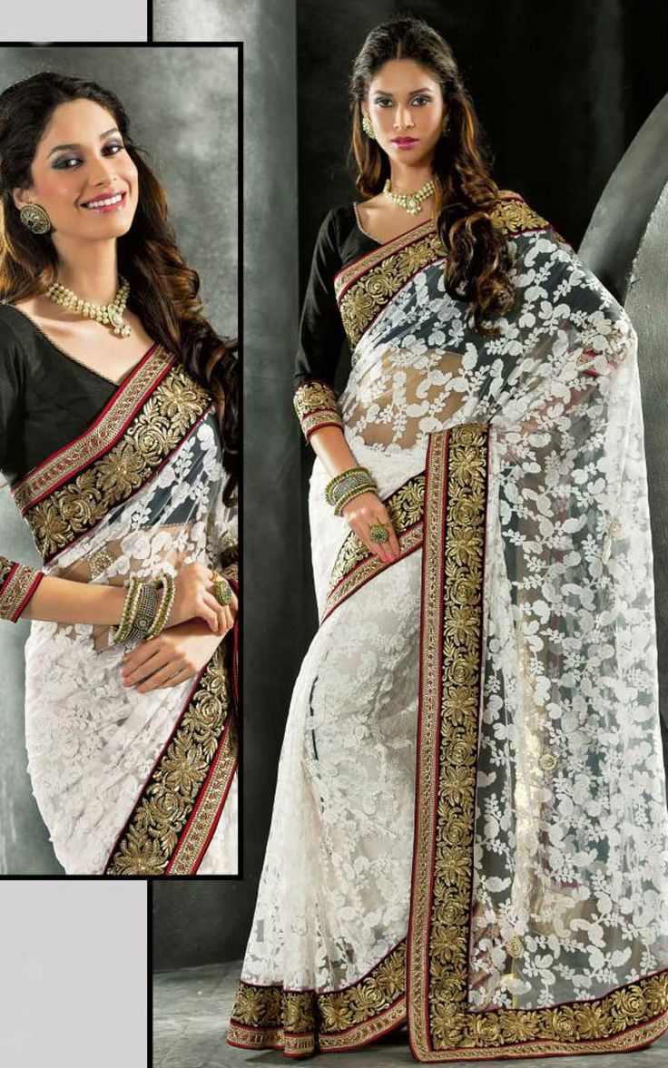 OFF WHITE & BLACK NET LATEST SAREE - VAL 5324