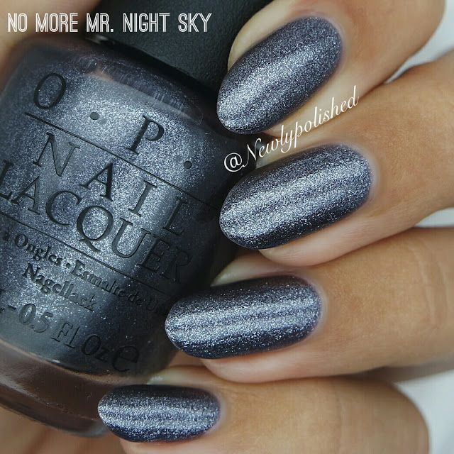 OPI Starlight Collection Holiday 2015 - 'No More Mr. Night Sky'! This color is dark, shimmery and a perfect shade of grey. I thoguh the formula was a bit thin at first but you get perfect coverage in two coats