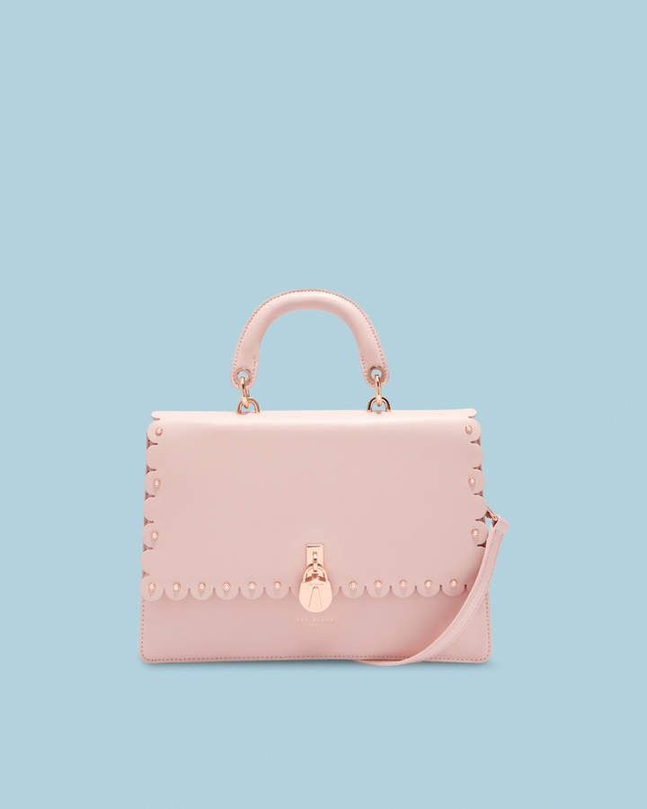 a8604cd4b580b4 HARRIET Scalloped padlock leather shoulder bag Ted Baker Bag