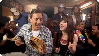 "Jimmy Fallon, Carly Rae Jepsen & The Roots Sing ""Call Me Maybe"" (w/ Classroom Instruments), via YouTube."