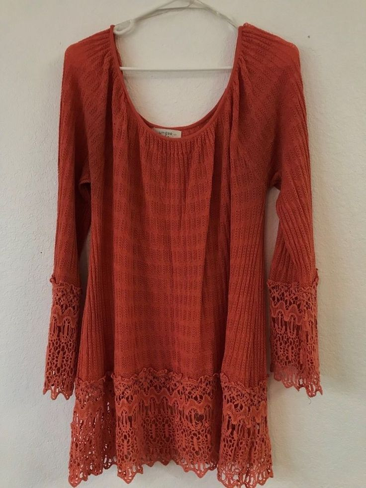 UMGEE Orange Ladies Shirt Dress MUST SEE Size 2xl Great Thanksgiving Shirt #UMGEE #Crochet #Casual