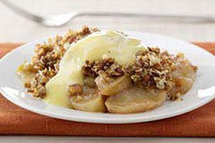 Ginger-Nut Apple Betty with Warm Eggnog Custard recipe