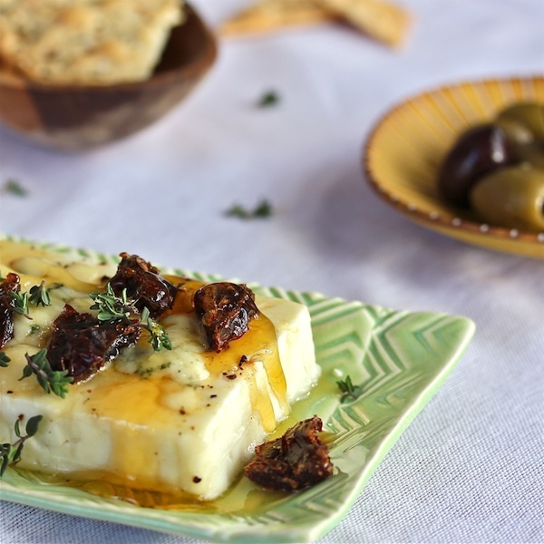 Honeyed Warm Feta with Dates - prepared and served in minutes with Feta and standard  pantry items. Certainly a crowd pleaser.