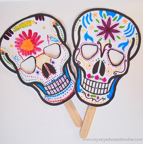Smiling (not scary!) Day of the Dead printable sugar skull masks