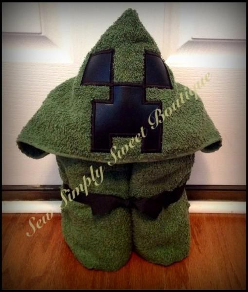 """How much do your kids LOVE Minecraft? How Fun to walk around as Creeper! This is a hooded bath towel inspired by Minecraft This towel is great for kids of all ages. Can be use for bath, at the pool or as a beach towel.Each hooded towel is made using a full size bath towel approx. (30""""x 54"""") and has a hood attached. Sizes and color may vary slightly depending on availability. Please allow 2-3 weeks to make and shipWill add a name for extra charge. Just select option when ordering."""