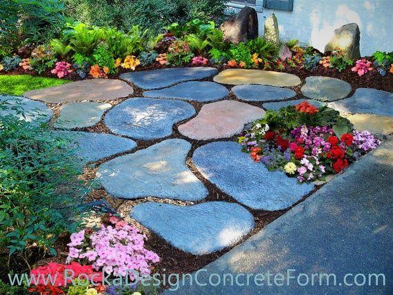Stepping Stone Walk Maker Garden Path Mold | Etsy #gardendecor | Stone Garden Paths, Garden Paths, Garden Stepping Stones