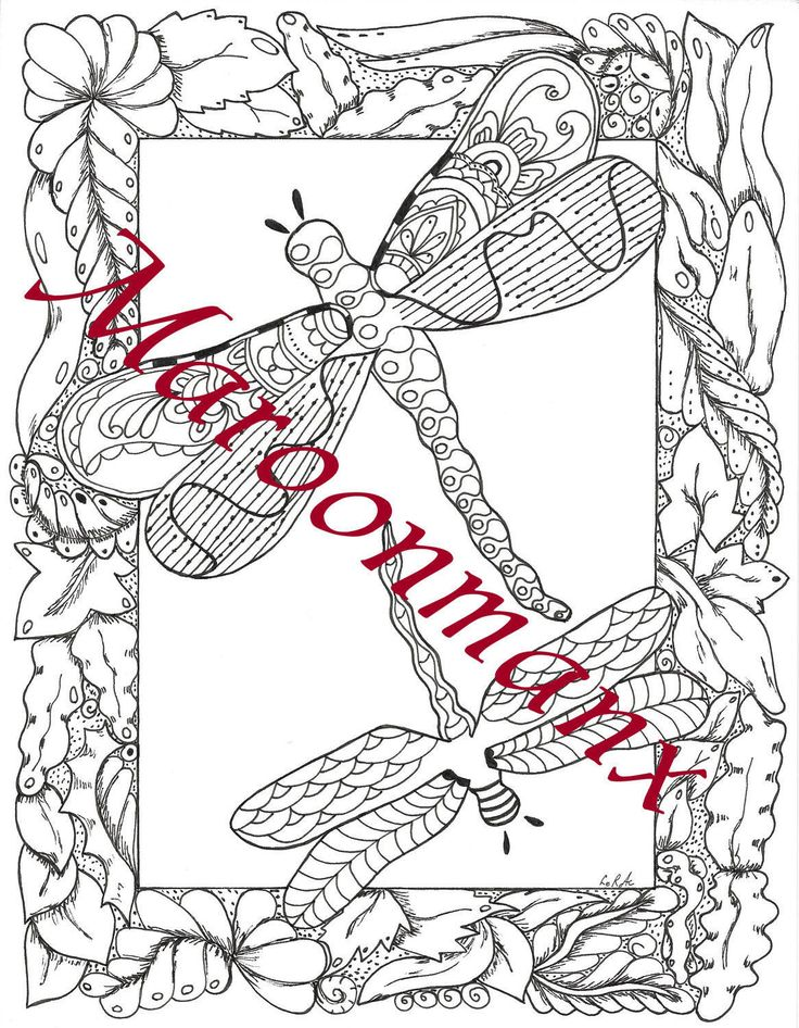 dragonfly duet adult coloring page downloadable printable gift wall art by maroonmanx on etsy