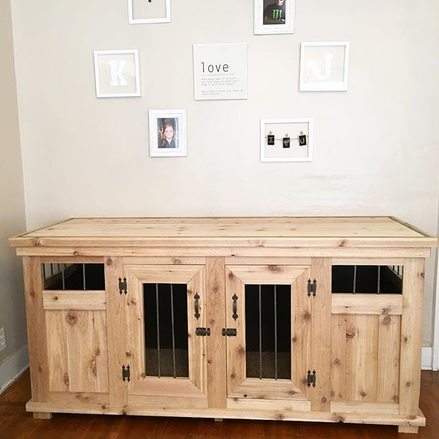 @jroskam and I built a dog kennel!! Solid wood with metal bars and carpet on the inside for our fur babies #furniture #furbabylove #knottypine #raw #custom #handmade #kennel #couplesproject #woodworking