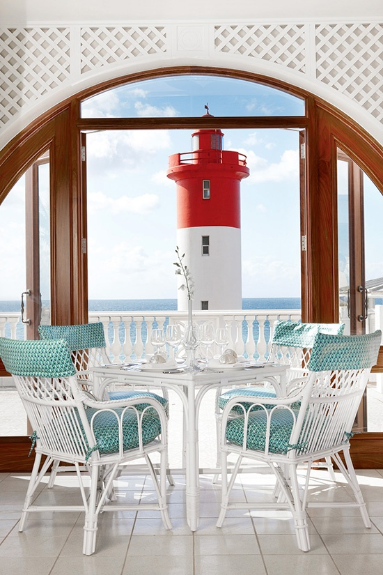 How incredible is this view of the lighthouse from The Oyster Box hotel in South Africa? #Romance #Hotel #SouthAfrica. From the Sure Travel blog: Romantic destinations in South Africa blog.suretravel.co.za