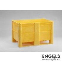 Hygiëne palletbox 1200x800x760 mm, 520 ltr, met 2 sleden, geel