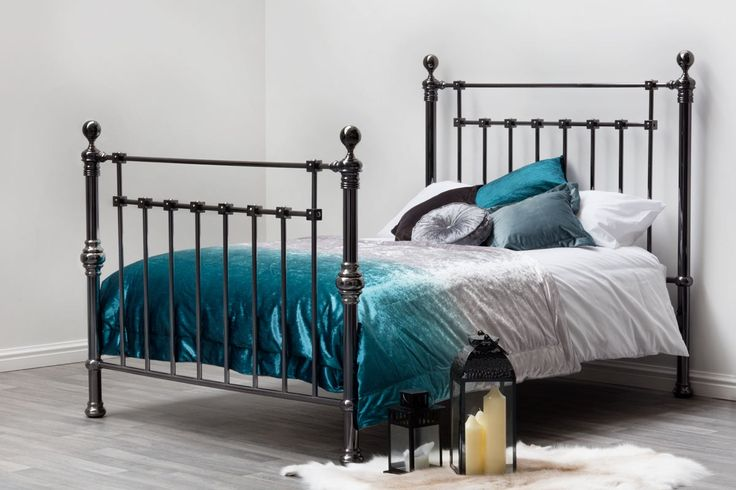York Black Nickel Victorian Vintage Contemporary Metal Double King Size Bed Frame