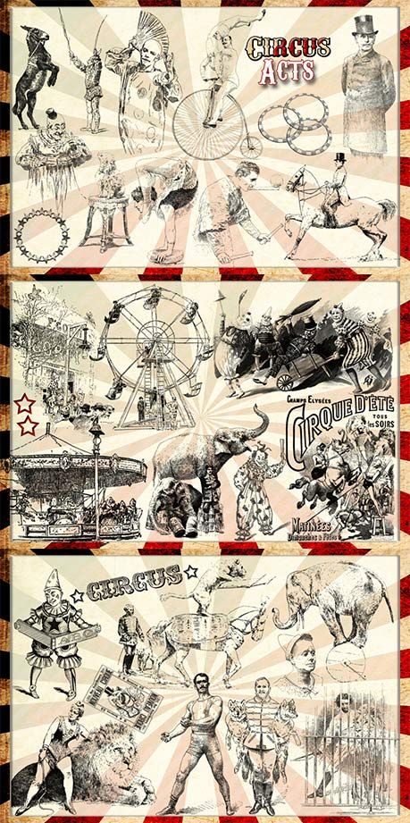 Vintage circus clip art collection (Photoshop brushes).