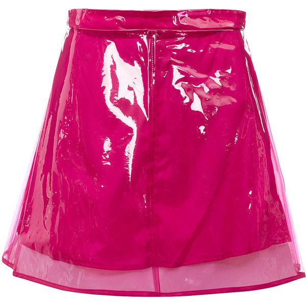 TOPSHOP Pink Plastic A-line Skirt ($50) ❤ liked on Polyvore featuring skirts, bottoms, pink, topshop, topshop skirt, plastic skirt, pink skirt and knee length a line skirt