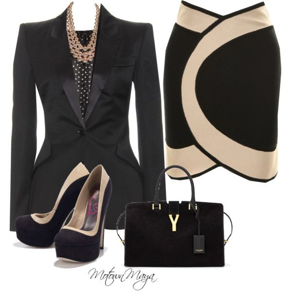 """Interview"" by motownmaya on Polyvore Like the shoes and the jacket. Not sure what's going on w that skirt tho"