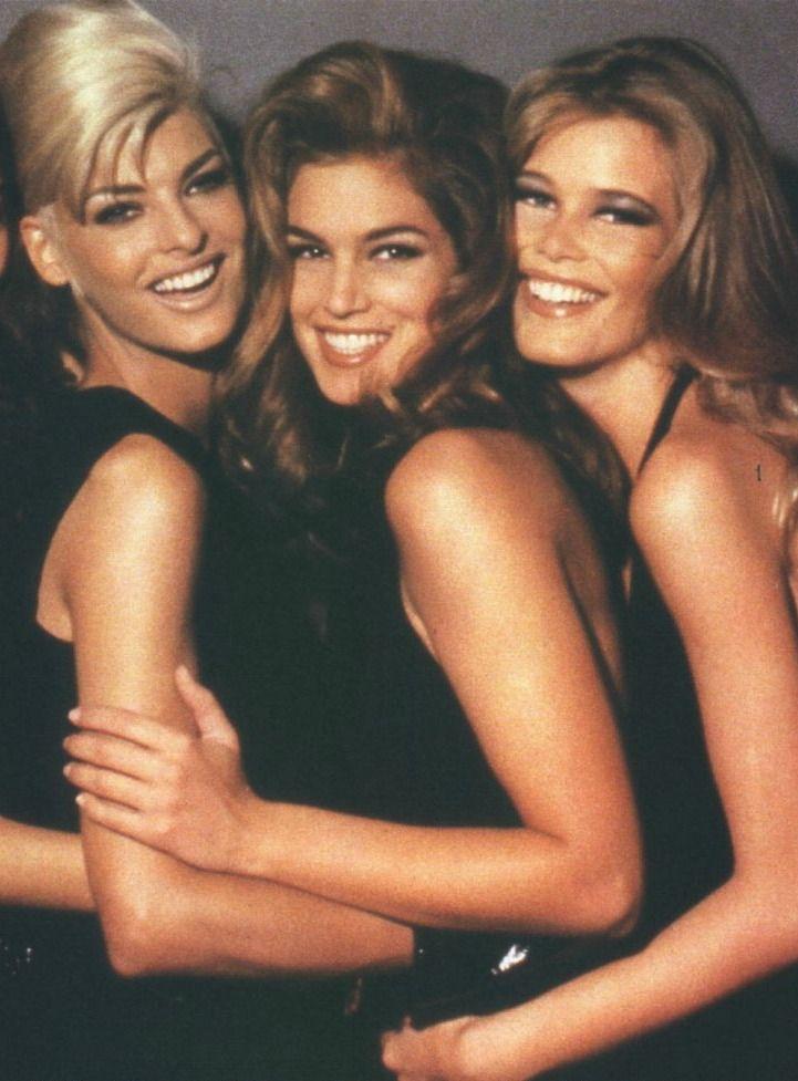 '90s Supermodels. Linda Evangelista Cindy Crawford Claudia Schiffer when models were models and actors were actors!!!!