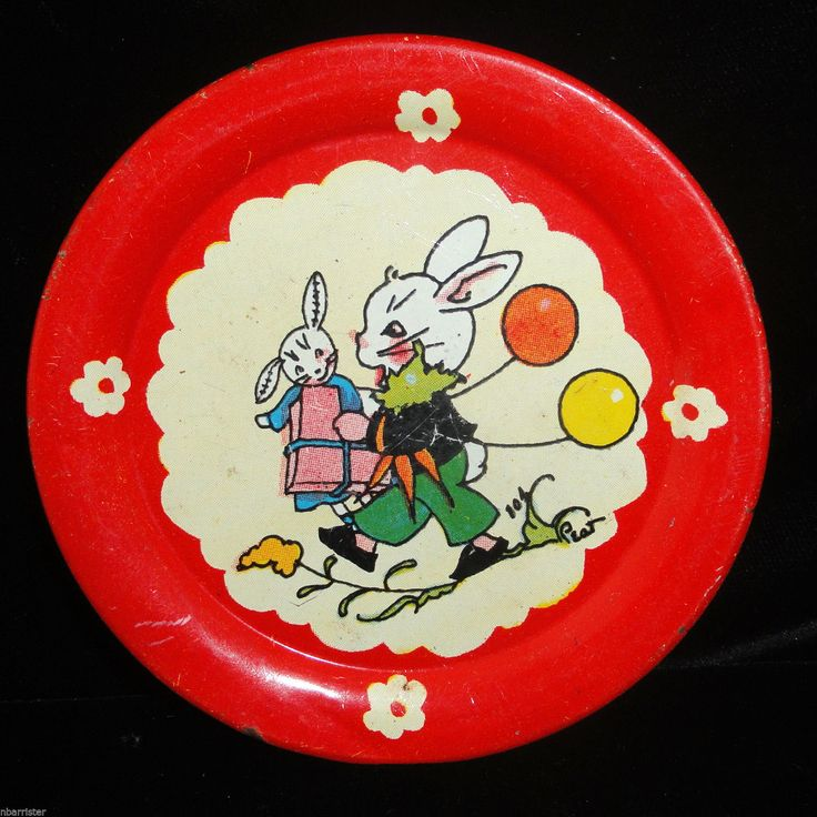 Bunny Birthday Tin Litho Childs Toy Tea Set Plate 1940 Fern Bisel Peat Ohio Art | & 207 best Vintage Toy Tin Dishes images on Pinterest | Old fashioned ...