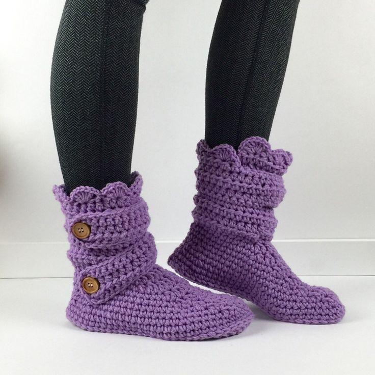 Women's Crochet Purple Slipper Boots, Crochet Slippers, Crochet Booties, Crochet House Shoes, Crochet Winter Boots, Grey Slipper Boots by StardustStyle on Etsy https://www.etsy.com/listing/178662133/womens-crochet-purple-slipper-boots