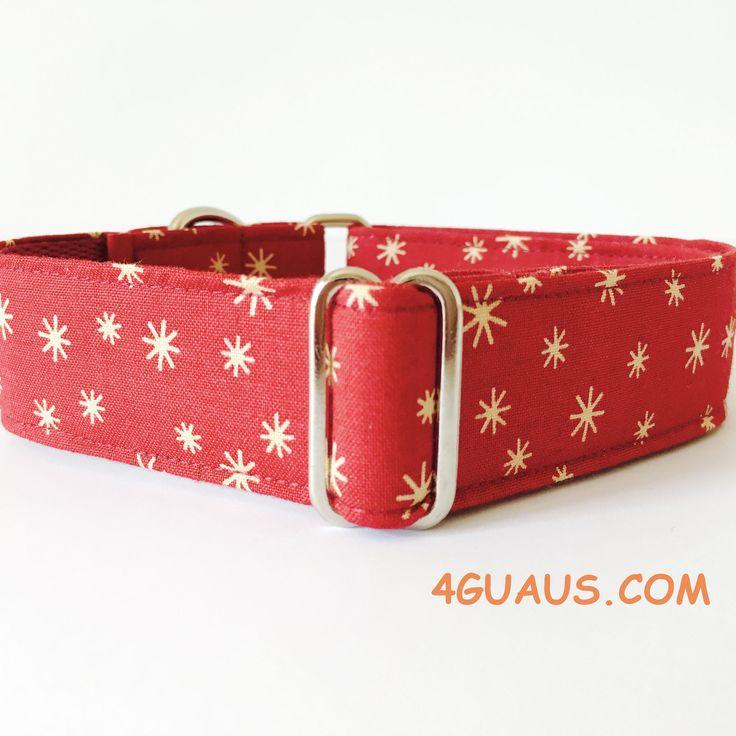 Collar perro Estrellas Rojo Navidad (Martingale, Hebilla o Ajustable), Collar martingale, Collar galgo, Martingale dog collar, Navidad de 4GUAUS en Etsy