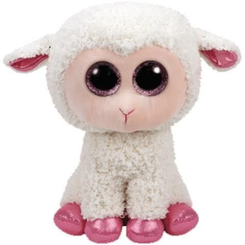 Cuddly and cute little lamb with sparkly pink feet!