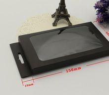 Черная бумага оконной коробки с вешалки, Черный коробки для упаковки с прозрачным окном бесплатная доставка(China (Mainland))