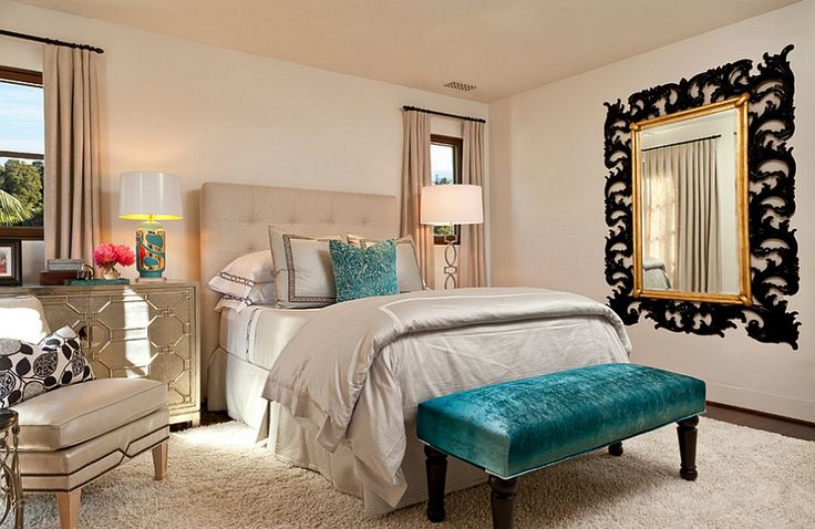 Bedroom : Bedroom Mediterranean Italian Style Pops Turquoise Footstool Bold Moroccan Influences Old World Charm Tuscany Tufted High Cream Headboard Quilt Bedding Set Wall Mirror Gold Frame White Shag Rug Drum Floor Lamps Nightstand Leather Chair Floral Pattern 15 Manners To Attach Mediterranean Style To Your Modern Bedroom Mediterranean Bedroom Style Idea. Mediterranean Bedroom Styles Ideas. Mediterranean Bedroom Idea.