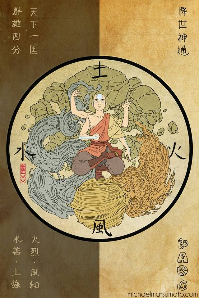 Avatar Aang mastering the 4 elements.