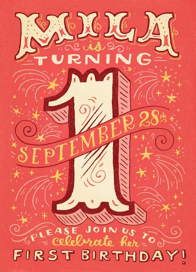 Birthday invite for a person turning one. Awe this turned out so cute! - Mary Kate mcddevitt