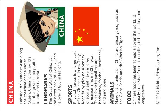 World thinking Day - China fact card