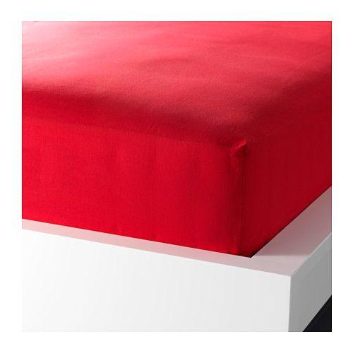 IKEA - DVALA, Drap housse, 140x200 cm, , Le coton est doux et agréable contre la peau.Drap-housse pour matelas de 26 cm d'épaisseur maximum.