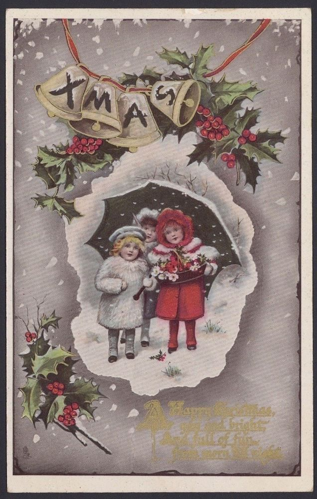 Vintage Christmas Cards. A Selection of 8 Early Christmas Cards to ...